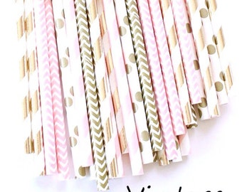 Light pink and gold paper straws-set of 25- Vintage pink and gold, baby shower pink straws, vintage weddings, bridal showers, pink and gold