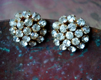 Vintage Screw Back Rhinestone Earrings