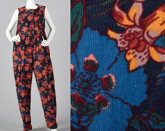 Medium 1980s Corduroy Jumpsuit Casual Sleeveless Jumpsuit Black Floral Print Cotton Oversized Day Wear 80s Vintage