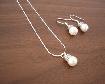 Set of 4 Bridesmaid Pearl Necklace and Earring Popular Elegant Sets, Bridesmaid Necklace Set, Wedding Jewelry Set