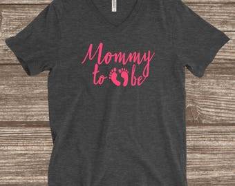 Mommy To Be V-neck T-shirt - Baby Shower Shirt - Soon to be Mom - Expecting Shirt - Baby Announcement Shirt - Pregnancy Announcement Shirt