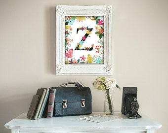 Garden Series, Letter Z,  Monogram, Floral, Flower Lettering