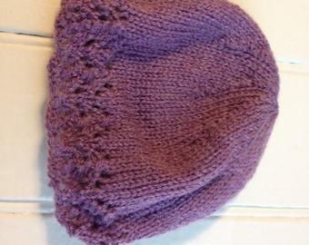 Purple Lacy Hat - Newborn Size