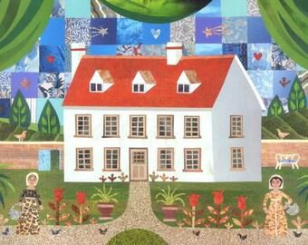 Jane Austen Greeting Card, Steventon, Card for Booklover, Fine Art, Sampler, Birthday Card, Garden, Writers' Houses, Pride & Prejudice
