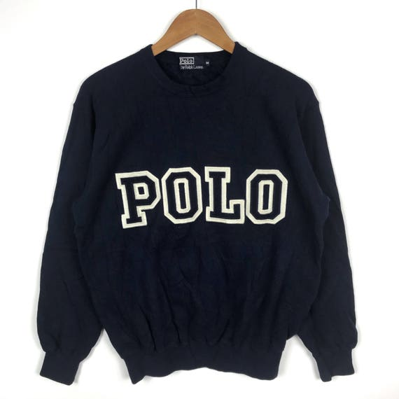 Vtg 90s polo by ralph lauren colour block sweatshirt embroidery spellout !!