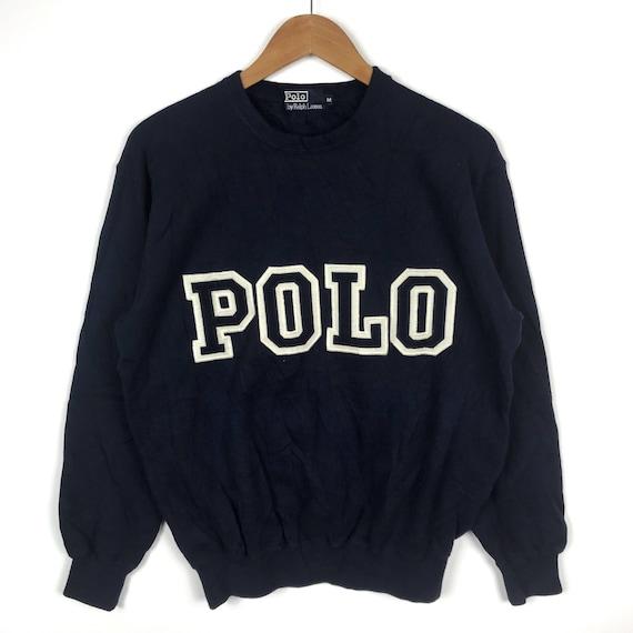 Vtg 90s polo by ralph lauren colour block sweatshirt embroidery spellout !! j2j3U5s