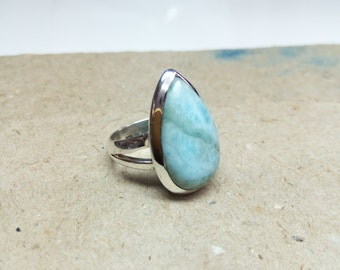 Natural Larimar ring, sterling silver ring, gemstone ring, 925 silver ring, handmade ring, gift for her, statement ring size 6