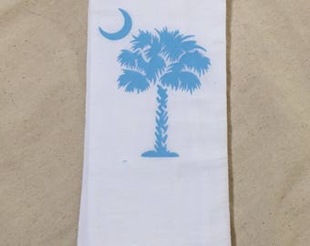 SC Palm Tree Flour Sack Dish Towel, Flour Sack Towel, Kitchen Towel, South Carolina, cute gift, housewarming gift