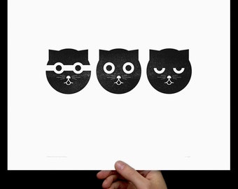 Watson the Cat, Art Print, Three Musketeers, Letterpress, Print, Poster, Cat Art, Nursery Art, Crazy Cat Lady, Kids Room, Wall Decor, Black