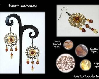 Earrings 'Fleur Baroque' - BRONZE + 1 Topaz