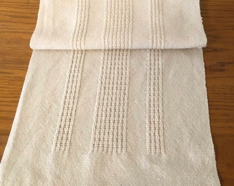 Natural Hand Woven Table Runner Leno Lace
