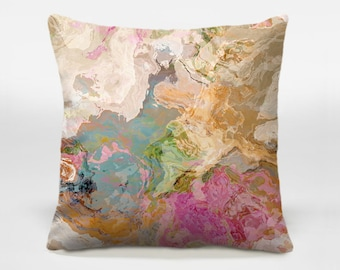 Decorative pillow cover with abstract art, 16x16 and 18x18 in pastel colors, accent pillow, throw pillow, pastel pillow, Dreamgirl