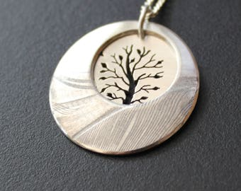 Tree in Landscape, Silver Feather Pendant, silver tree jewellery, Sterling silver pendant.