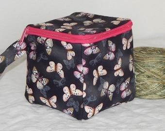 "Zippered project yarn box, 5.5"" x 5.5"" sock box bag, knitting, crochet, embroidery, Butterflies"
