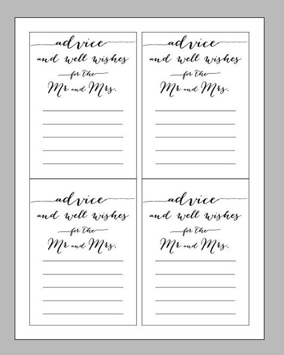 This is a picture of Stupendous Free Printable Bridal Shower Advice Cards