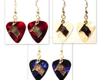 USA American Flag Charm Guitar Pick Earrings - Choose Color - Handmade in USA