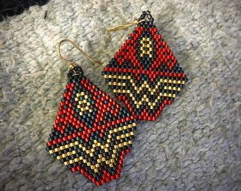 Native Wonder Woman Red Beaded Earrings