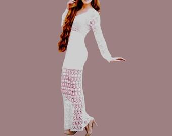 Maxi dress crochet PATTERN, sizes S-XL, detailed tutorial in ENGLISH (every row) crochet maxi dress Pdf, beach wedding dress crochet pattern