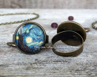 Van Gogh Starry night ring, Van Gogh ring, Starry night ring, Van Gogh jewelry, Van Gogh Starry night photo ring, BR29