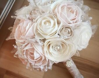 Vintage Wedding Bouquet, Sola flowers, Alternative bouquet, Classic wedding bouquet, Bridal bouquet, Bridesmaid bouquet, Champagne, Blush