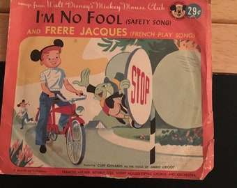 Vintage Mickey Mouse Club Record Frere Jacques and I'm No Fool Walt Disney French play song safety song 45 RPM Jiminy Cricket