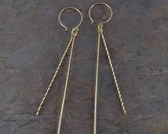 Gold Filled Earrings | Long Earrings | Dangle Earrings | Minimalist Earrings | Straight Earrings