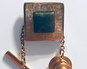 Vintage Krementz Square Jade Gold Tone Tie Tack Gift for Him