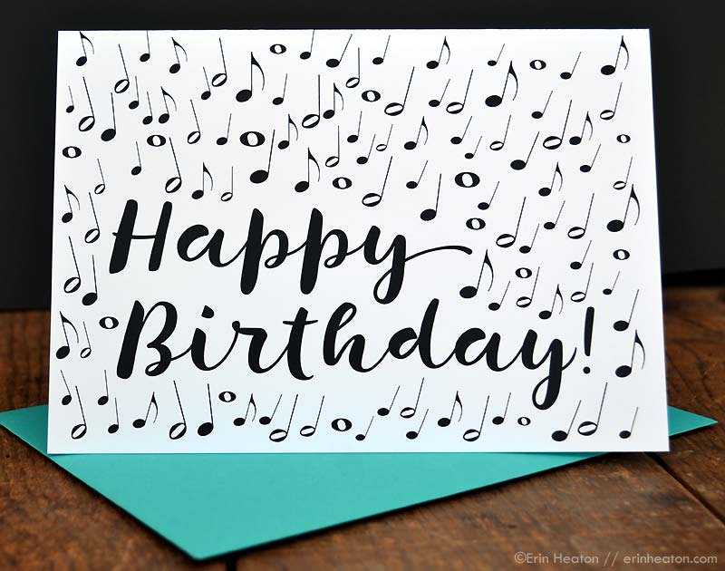 Birthday Cards Notes ~ Music note birthday card musician birthday card music
