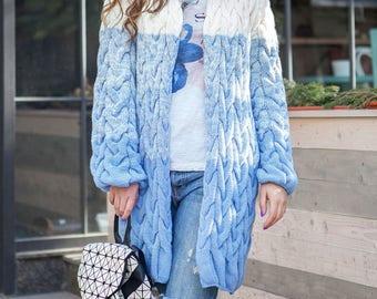 Wool coat knit Full length coat Woman knit coat Knit jacket Long winter coat Aqua blue cardigan Knit wool sweater Knit sweater coat
