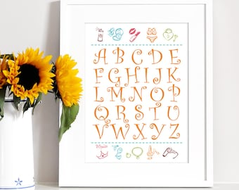 Nursery Art Alphabet Print ABC Art Printable Wall Art Alphabet Poster Orange Calligraphy Letters Baby Girl Gift Wall Decor Digital Download
