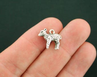 4 Lamb Charms Antique Silver Tone 3D Sheep - SC3456
