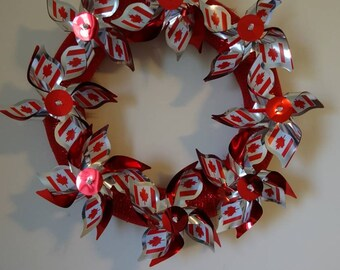 Canada Wreath, Patriotic Wreath, Canadian Flag Windmills, Canada Day Decoration, Maple Leaf