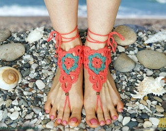 Barefoot Sandals Beach Party Foot Accessory Crochet Decoration Footless Jewelry Coral Red Green Flower Boho Romantic - Ready to ship!