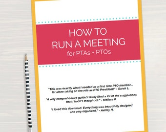 How to Run a PTO Meeting eBook, Perfect for addition to PTA PTO planner or binder to live a sweet pta life as a pto mom
