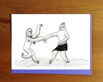Swing Dancing Sloths Couple Greeting Card