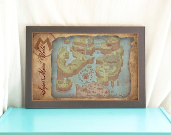 Map of Super Mario World // Antique Style Video Game Map // Art Print // Geek Home Decor // Game Art // SNES // Gamer Gift // Gamer Home