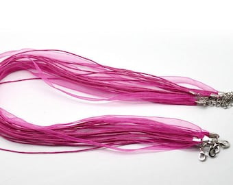 1 necklace 43cm waxed cotton thread and Fuchsia Organza Ribbon