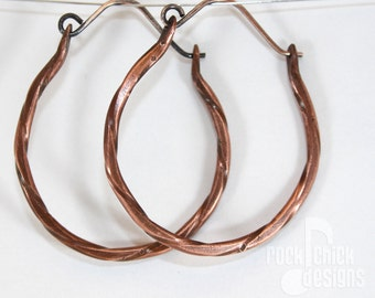 Twisted copper hoop earrings, dainty, medium 1.75 inch diameter, with dotted texture, sterling silver ear wires -- salvaged copper wire