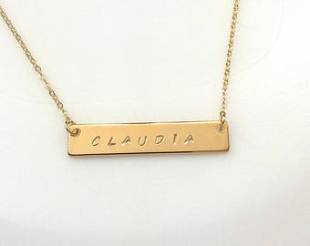 Bar Necklace, Personalized Name Necklace, Custom Hand Stamped Bar Necklace, Gold plated Bar Necklace, Gold plated Name Bar Necklace, Gift
