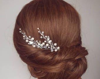 Wedding Hair Piece, Pearl Hair Comb, Crystal Hair Pins, Bridal Hair Vine, Pearl Hair Piece, Beaded Hair Vine, Bridal Vine Hair Piece