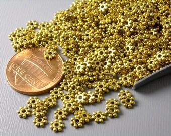 SPACER-AG-4.5MM - Antiqued Gold Flower Spacers, 4.5mm - 50 pcs