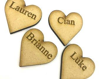 Family Tree Engraved Hearts - Any Name
