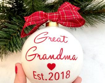 Pregnancy Announcement Christmas Ornaments, Great Grandma & Great Grandpa Christmas Ornaments, Grandparent Pregnancy Reveal