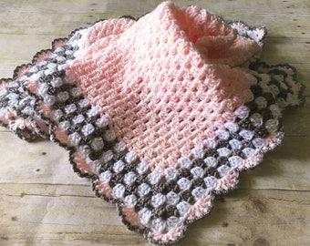 Pink Grey Baby Blanket, Pink Baby Blanket, Crochet Baby Blanket, Pink Crochet Afghan, Baby Afghan Pink Grey Blanket Crochet Blanket Handmade