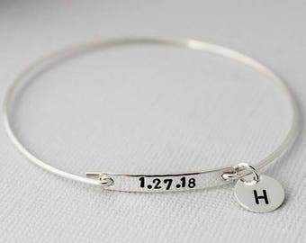 push present, new mom gift, date bracelet, word bracelet, personalized jewelry, stacking bracelet, layering jewelry, hand forged bangle