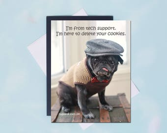 Pug Magnet - Delete Your Cookies - 4x5 Pug magnet - by Pugs and Kisses