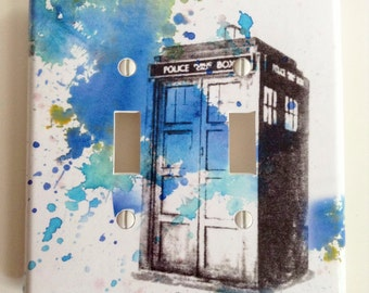 Doctor Who Tardis Decorative Double Light Switch Plate Cover Doctor Who Gift Great Geek Gift Doctor Who Wall Art Decor