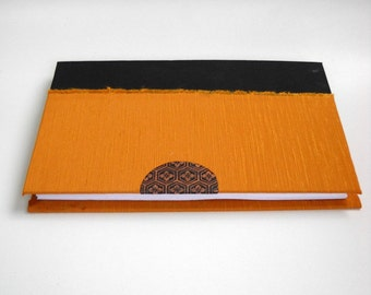 Hardcover, Golden, French Asahi Silk Journal, Orange Hardcover Journal