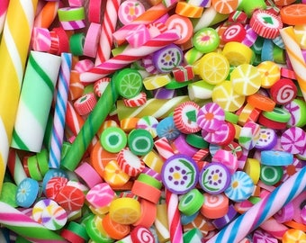HUGE Lot of Miniature Candy - Cut Rock - Old Fashioned Hard Candy & Stick Candy - Polymer Clay - Make Your Own Gingerbread House - 500+ pcs!