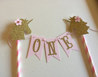 Unicorn Cake Topper Magic Horse One Year Old Cake Smash Banner Personalized Topper  Birthday Party Baby Shower Pink Lavender Glittering Gold